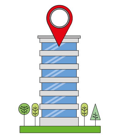 building structure with pin location and trees plants vector illustration design
