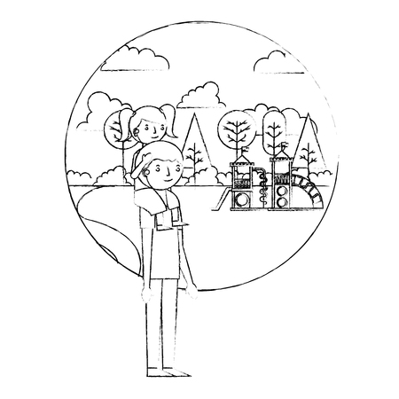 dad carrying her daughter on shoulders in the playground park vector illustration sketch