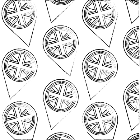 pins locations with flag of great britain pattern vector illustration design