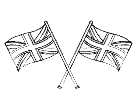 flags in pole crossed of great britain icon vector illustration design