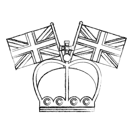king crown with flags in pole of great britain vector illustration design  イラスト・ベクター素材