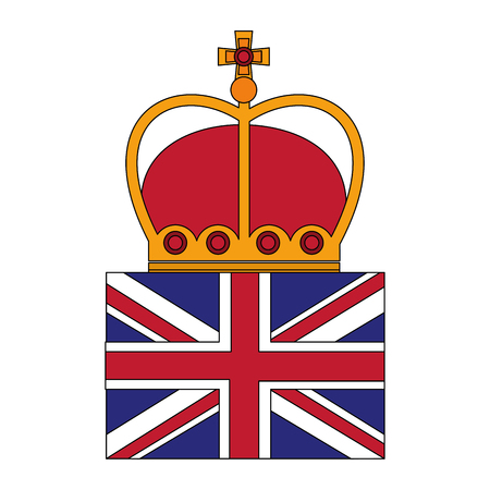 united kingdom flag royalty crown vector illustration