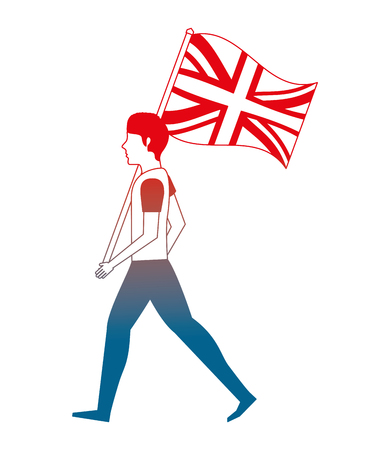 young man walking with united kingdom flag vector illustration gradient design