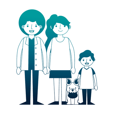 family afro american with little dog pet vector illustration neon