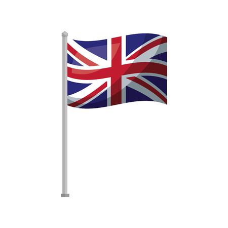 Bandera del Reino Unido en la ilustración de vector de símbolo nacional de polo