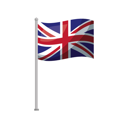 united kingdom flag in pole national symbol vector illustration 免版税图像 - 114961006