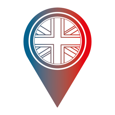united kingdom flag in pointer map location vector illustration gradient design  イラスト・ベクター素材