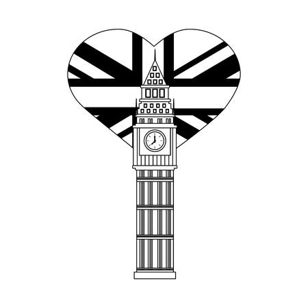 london big ben and heart with british flag vector illustration black and white