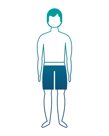 male figure character in short swimsuit vector illustration