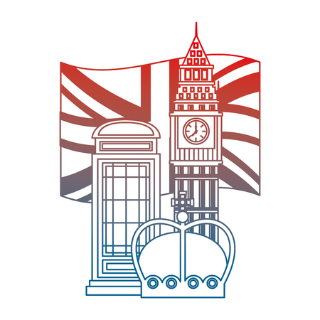 united kigndom flag big ben tower telephone box and crown vector illustration gradient design
