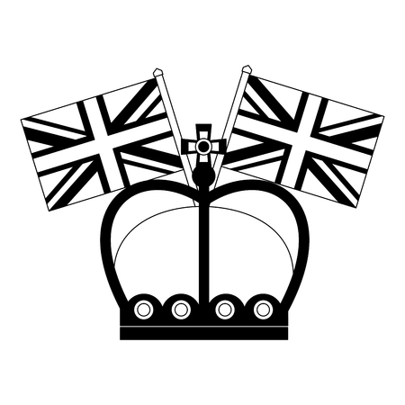 united kingdom crown and flags symbol vector illustration black and white