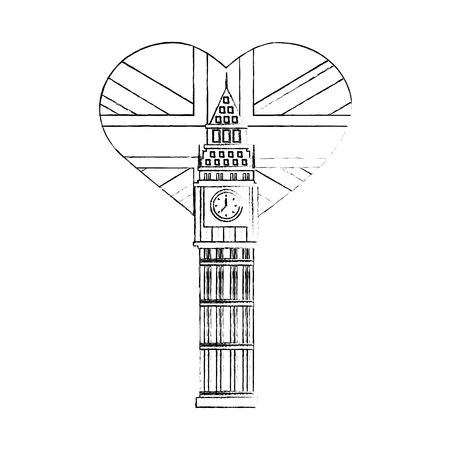 big ben tower british with flag of great britain in heart shape vector illustration design Ilustrace
