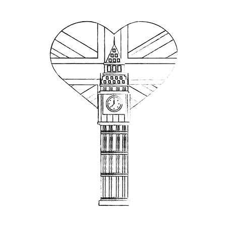 big ben tower british with flag of great britain in heart shape vector illustration design Illustration