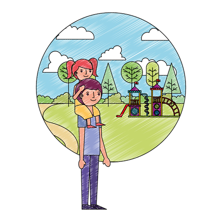 dad carrying her daughter on shoulders in the playground park vector illustration