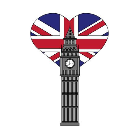 london big ben and heart with british flag vector illustration Çizim