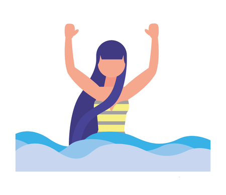 woman with swimsuit in sea icon vector illustration design