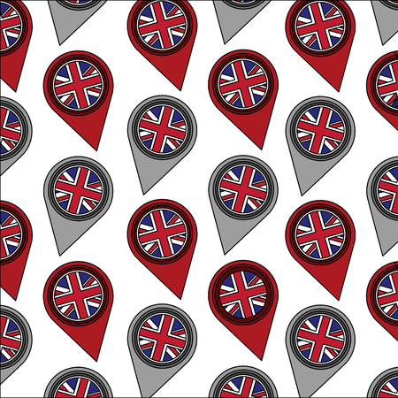 united kingdom flag in pointer map location background vector illustration