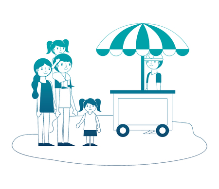shop fast food cart with family icon vector illustration design