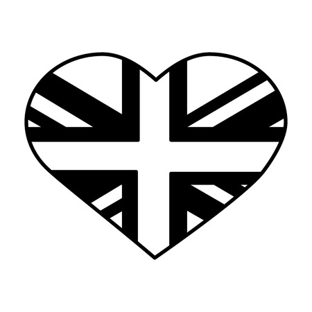 united kigndom flag in heart vector illustration black and white