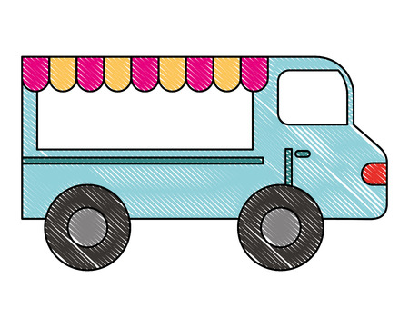 food truck vehicle business image vector illustration