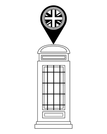 london telephone box british flag in pin map vector illustration black and white Stock Illustratie