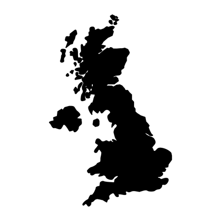 united kingdom map geography location vector illustration black and white Banque d'images - 104676570