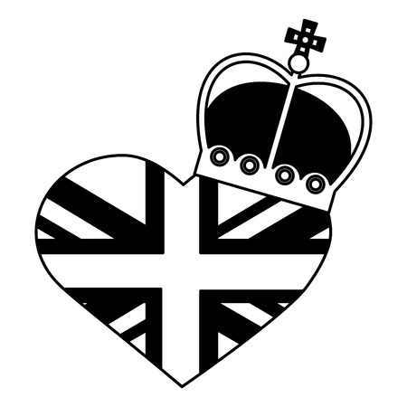 united kingdom flag in heart crown royal vector illustration black and white Illustration