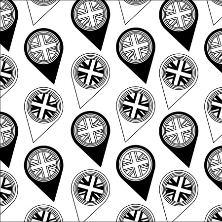united kingdom flag in pointer map location background vector illustration black and white  イラスト・ベクター素材