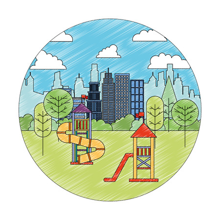 park playground tree nature in the city vector illustration
