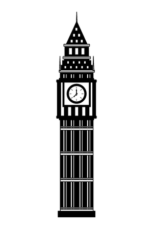 london big ben tower architecture landmark vector illustration black and white