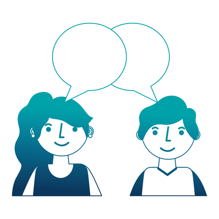 young couple together with speech bubble vector illustration design