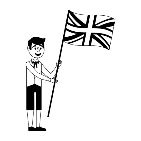 man cartoon in clothes traditional and flag england vector illustration black and white Stock Illustratie