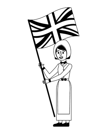 woman cartoon in clothes traditional england flag vector illustration black and white