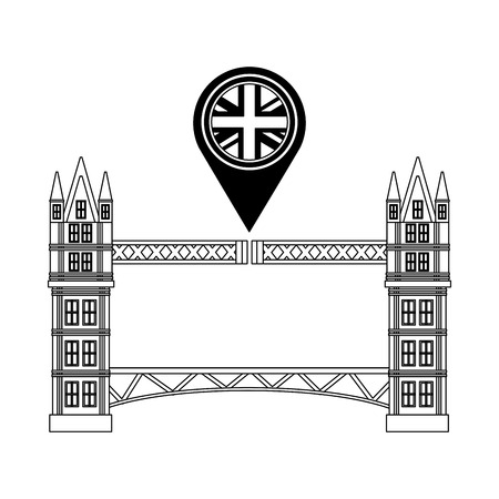london bridge and united kingdom flag in pointer map vector illustration black and white