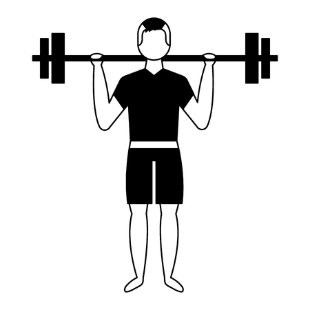 bodybuilder man in short swimsuit lifting barbell vector illustration Banco de Imagens
