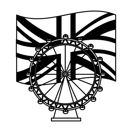 united kigndom flag and london eye vector illustration black and white
