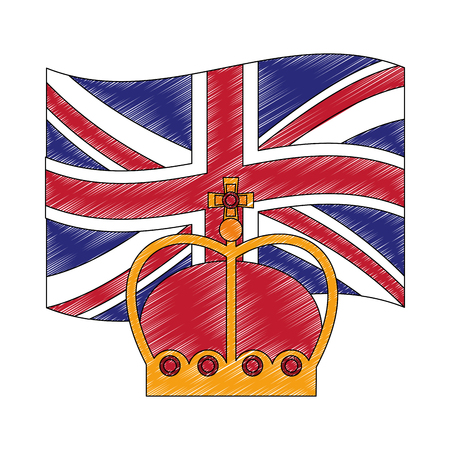 flag of great britain with king crown icon vector illustration design