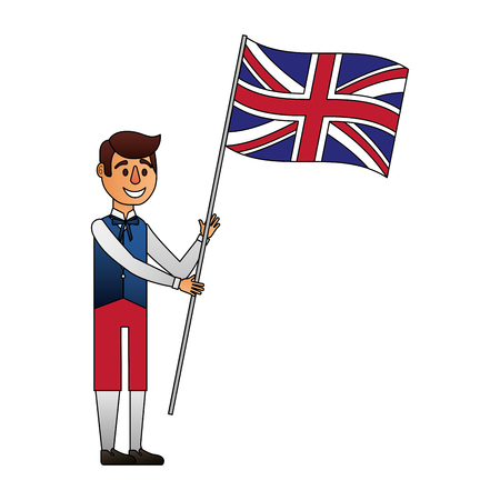 man cartoon in clothes traditional and flag england vector illustration