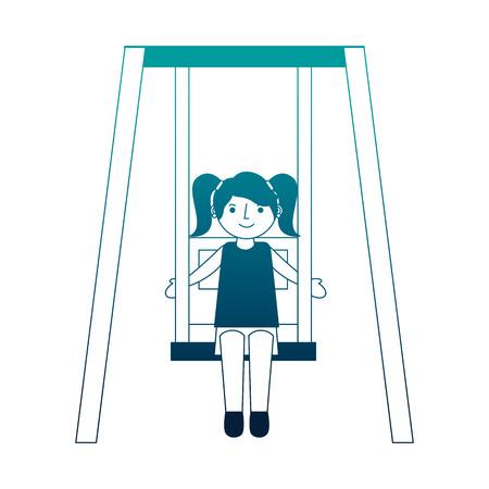cute little girl in swing game vector illustration neon
