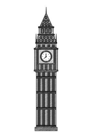 big ben tower british landmark vector illustration design
