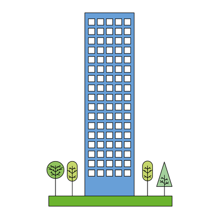 building structure with trees plants isolated icon vector illustration design