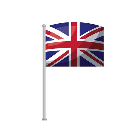 united kingdom flag in pole national symbol vector illustration