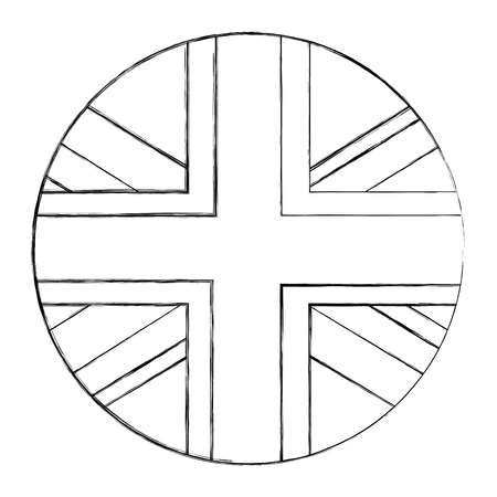 emblem seal of flag great britain isolated icon vector illustration design