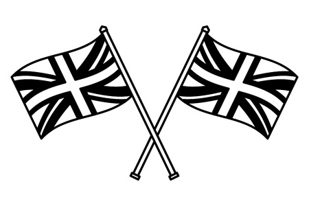crossed united kingdom flags in poles vector illustration black and white