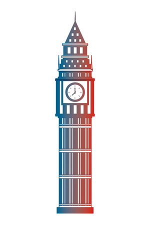 london big ben tower architecture landmark vector illustration gradient design Illustration