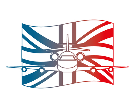 airplane with england flag front view vector illustration gradient design