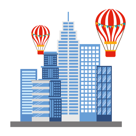 buildings structures with balloons air icon vector illustration design Ilustração