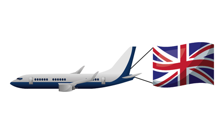 airplane flying with england flag vector illustration