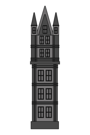 classic tower architecture antique building vector illustration
