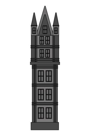 classic tower architecture antique building vector illustration
